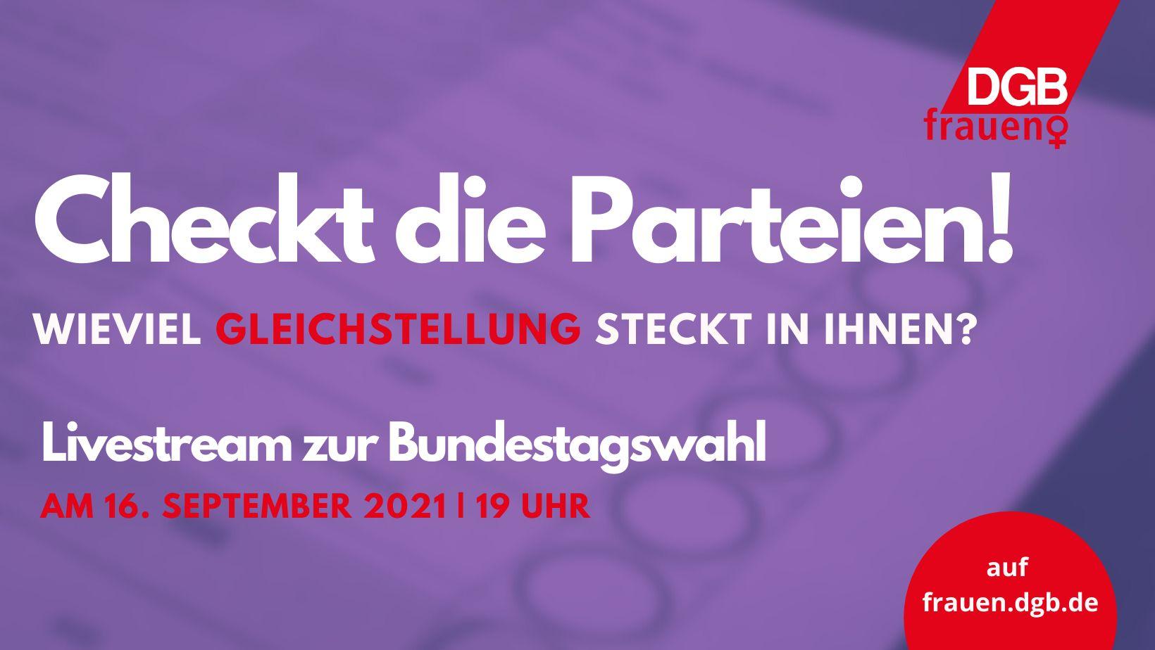 Livestream Frauenpolitik: Bundestagswahlen 2021